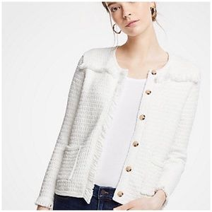 ANNE TAYLOR PETITE Textured Fringe Sweater Jacket